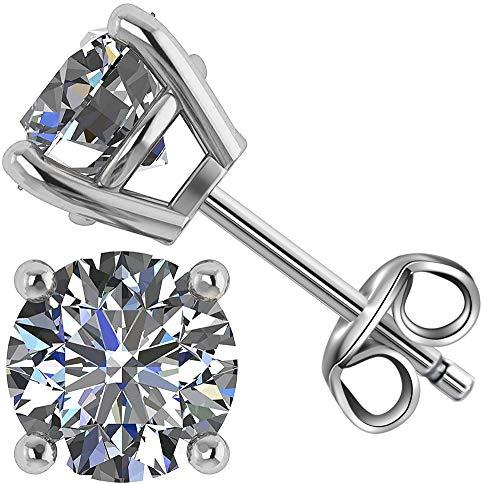 Orecchini a Bottone Uomo in Argento sterling con Diamanti Rotondi Swarovski Orecchini argento 925 Uomo Donna 5mm