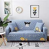 Funda Sofa Elastica 2 Plazas Protector para Sofás Antideslizante Funda Longue Chaise Cubre Sofa de Poliéster Decorativas Cubierta para sofá Ajustables con 1 Funda de Cojín - Cómics de Animales