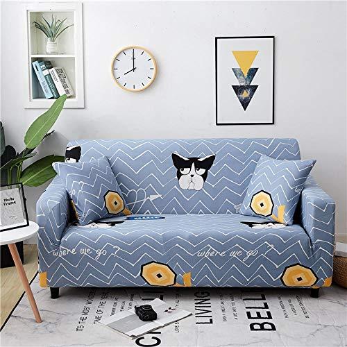 Funda Sofa Elastica 1 Plazas Protector para Sofás Antideslizante Funda Longue Chaise Cubre Sofa de Poliéster Decorativas Cubierta para sofá Ajustables con 1 Funda de Cojín - Cómics de Animales