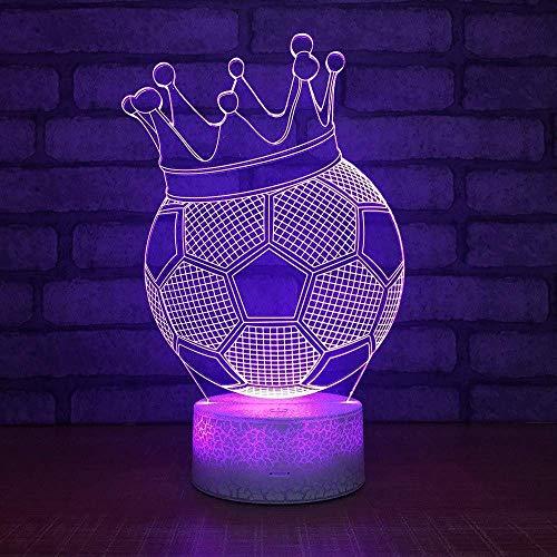 3DIlusión Luz Nocturna7ColoresLedPatrón De Ráfaga Visual Corona Creativa Fútbol Lámparas De Dormitorio De Ahorro De Energía Colorido Regalo Creativo Control Remoto