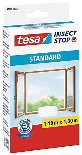tesa® Insect Stop Fliegengitter STANDARD für Fenster, leichter Sichtschutz (1,10 m x 1,30 m / 4er Pack, weiß)