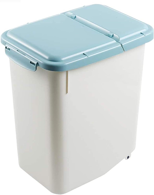 WlP Cubo de arroz, Recipiente de Grano a Prueba de Humedad de 10 kg para el hogar, Recipiente de plástico para Alimentos Secos, Tanque de arroz, Caja de Almacenamiento de Cocina, 35.5x27x26.5cm