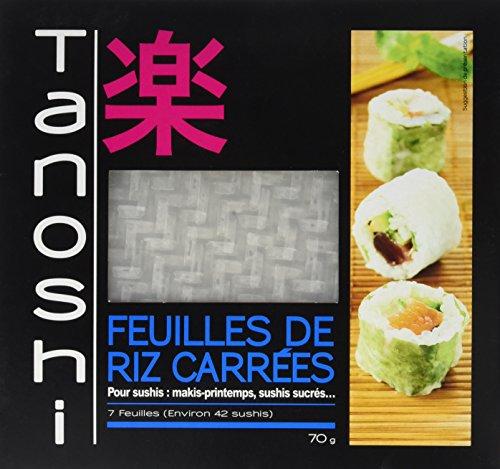 Tanoshi Feuilles de riz carrées pour sushis, rouleaux de printemps, makis - 7 feuilles (70 g) - Lot de 10