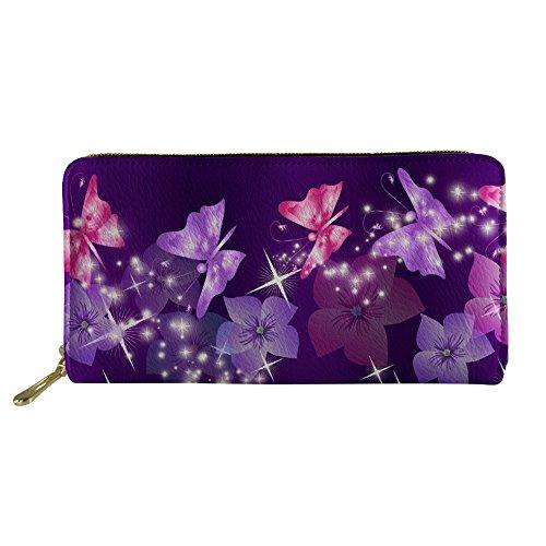 HUGS IDEA Floral Butterfly Women Wallet Travel Purple Clutch Bag Credit...