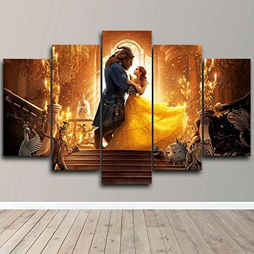 QIQIGUAI-Cuadro En Lienzo Imagen Impresión-Póster Animado de la Bella y la Bestia-Pintura Decoración Canvas De 5 Pieza Mural Moderno Decor Hogareña con Marco 100X55Cm
