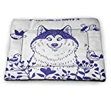 Dog Crate Bed Pet Mat Alaskan Malamute Dog Placemats for The Floor Happy Doggy in Blossoming Spring Field with Singing Birds and Flowers for Large Medium Small Dogs and Cats Blue White (23'x15.5')