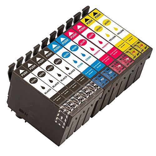 Ouguan® Cartuchos de Tinta Compatible Epson 603XL 603 para Epson XP-3100 XP-4100 XP-2100 XP-2105 XP-3105 XP-4105 WF-2810 WF-2830 WF-2835 WF-2850 (4 Negro, 2 Cian, 2 Magenta, 2 Amarillo)