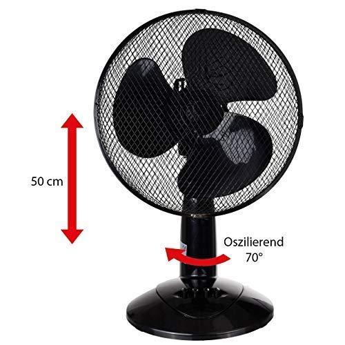 LEX XXL Tischventilator Ventilator Windmaschine Ø30 cm, 3 Geschwindigkeiten, Leistung: 45 Watt Oszillation, 50cm Farbe:Schwarz