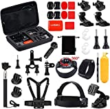 Luxebell Outdoor Sports Camera Accessories Kit for GoPro Hero 9 8 7 6 5 Session Max 4 3 Sliver Fusion Dji Osmo Sjcam SJ4000 SJ5000 DBPOWER AKASO Apeman Xiaomi Yi