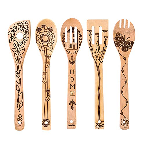 5 PCS Bamboo Spoons Cooking and Serving Utensils Set - Magic Pattern Burned Wooden Spoon Spatulas Kitchen Utensil Perfect Gift For Chefs & Foodies (Home spoons)