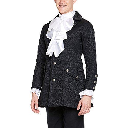 Mittelalter Gewand Brokat Gehrock schwarz, edles Kostüm, Fasching - XL