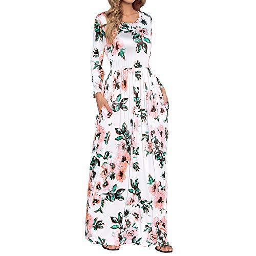 HOOYON Women#039s Casual Floral Printed Long Maxi Dress with PocketsS5XLWhiteXLarge