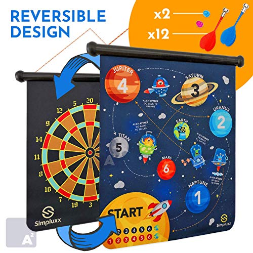 Magnetic Dart board - Kids Fun Space Adventure or Monster Mayhem Portable Dartboard Set. With Traditional Bulls eye Game on Reversible Double Sided Back, Played with Safe Magnet Darts or Throw Balls.