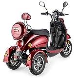 VELECO ZT63 Scooter électrique 3 roues Rétro Senior Handicapé Adulte 650W ROUGE