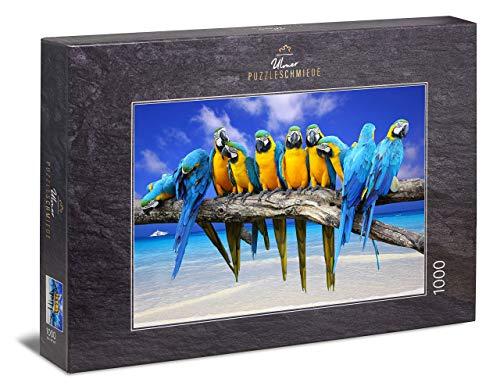 """Ulmer Puzzleschmiede - Puzzle """"Ausflug ans Meer""""– Klassisches 1000 Teile Puzzle – Puzzlemotiv mit Ara-Papageien vor traumhaftem Südsee- und Karibik-Strand"""