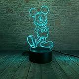 Bande Dessinée Nuit Lumière 3D Enfant Fille Mickey LED Illusion Lampe De Table USB...