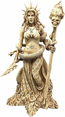 Small Celtic Statue Hecate Greek Goddess White Sorceress Witchcraft Figurine (Yellow)