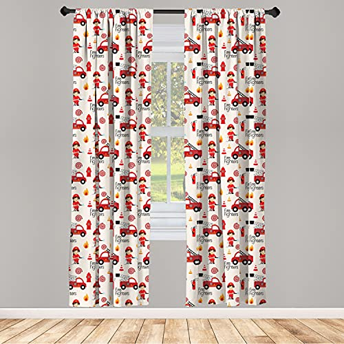 Lunarable Fire Truck Curtains, Little Boys and Girls in Uniforms Fire Fighters Theme Career Profession Pattern, Window Treatments 2 Panel Set for Living Room Bedroom Decor, 56 x 63, Red Cream