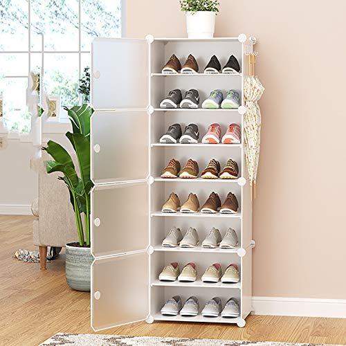 Multi-estante De Zapatos De Capa,Con Organizador De Almacenamiento De Estantes De Zapatos De Cubierta A Prueba De Polvo,Cajas De Zapatos De Plástico Transparentes,Torre De Zapatos -Blanco. 8-tier 44x3
