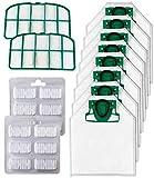 12 Pezzi Kit 8 x Sostituzione Sacchetti di Aspirapolvere Compatibile per Vorwerk Folletto VK200 VK220 VK220S + 2 x Pastiglia di Profumo + 2 x Filtri Griglia Motore (A)