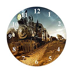 Moslion Train Clock Vintage Steam Engine Locomotive Train Moving Down Railroad Track Towards Camera Round Wall Clock Slient Non Ticking Rustic Home Decor 10 Inch for Kitchen Bathroom Office Brown Blue