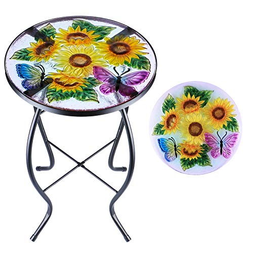 Patio Side Table Outdoor End Table Plant Stand 14'' Round Accent Table Mosaic Glass Metal Side Table Sunflower Garden, Balcony Indoor Coffee Table