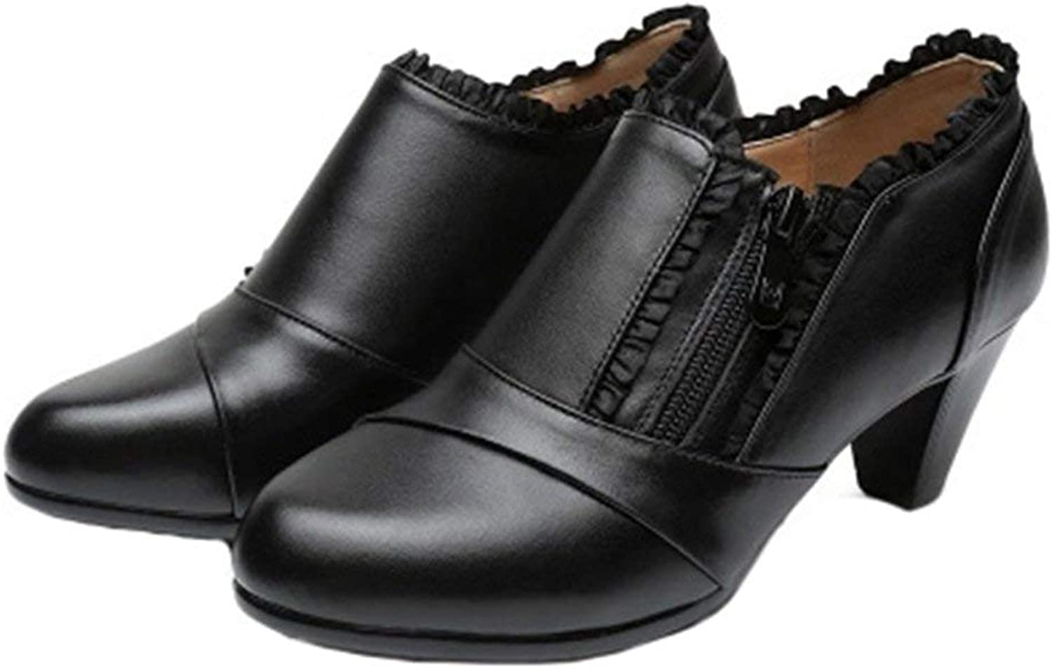 Beautiful - Fashion Oxfords Pumps for Womens, Slip-On Pointed Toe Block Heel Zipper Dress Oxford Loafers Pump shoes Black