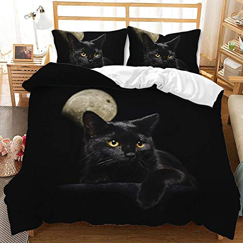 ZWPY 3D Animal Cat Soft Duvet Cover Bedding Sets Lovely Cat Bed Cover 3D Printed Quilt Cover & Pillowcase, 100% Polyester Microfiber Black,US Queen