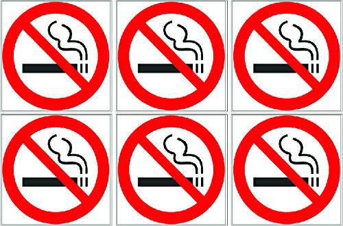 """Rogue River 3"""" Pack of 6 No Smoking Sticker Sign Decal Indoor Outdoor Window Door No Cigarette Smoker (3"""" Pack of 6)"""