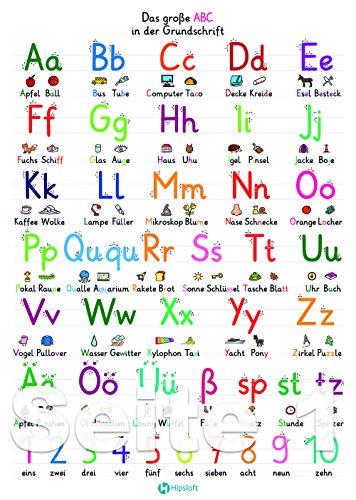 Buchstaben lernen: Wissenskarte (DIN A4) laminiert für das Lesen lernen - zum Schulstart als Ergänzung zum Alphabet Poster, mit ABC Buchstaben einfach Schreiben lernen in der Grundschule/Vorschule