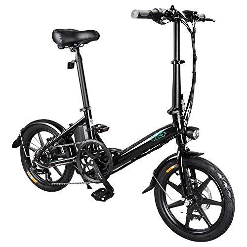 GoZheec Bicicleta eléctrica para Adultos FIIDO D3s, Bicicleta eléctrica Ligera Plegable de 6 velocidades Shimano, batería de 250 W / 36 V, Velocidad máxima de 25 km/h, Ruedas de 16 Pulgadas (Negro)