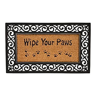 J&M Home Fashions Natural Coir Tuffridge Rubber Non-Slip Half Round Doormat, 18x30, Heavy Duty Entry Way Shoes Scraper Patio Rug Dirt Debris Mud Trapper Waterproof-Wipe Your Paws