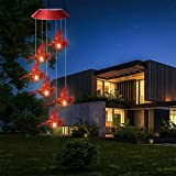 Vicetion Solar LED Lights Cardinal Red Bird Wind Chime, Hummingbirds Color Changing Waterproof Wind Chime Light, Spiral String Hanging Wind Chime for Outdoor Garden Decor,Gifts for Mom Family