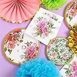 LIZHIOO 64 Piezas De Vajilla Floral, Vajillas Desechables Retro for Fiestas En El Jardín, Que Se Utiliza for Vasos De Papel Servilletas De Cumpleaños Y Bodas Suministros