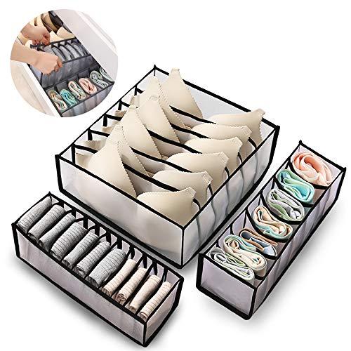 DZY Unterwäsche Organizer, Unterwäsche Aufbewahrungsbox, Schrank Und Schubladen Ordnungssystem für Unterwäsche, Socken, Krawatten, Schals und Taschentücher (schwarz)