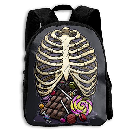 Daypacks,Skeleton Candy Brustkorb-Röntgen-Studententasche, Premium-Schulrucksäcke Für Jungen, Mädchen, Sportler,27cm(W) x34cm(H)