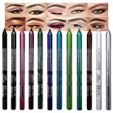 12 Colors Colorful Colored Eyeliner Pen Set, Eyeliner & Eye Shadow Pencil Set,Pearl Metallic Glitter Blue White Silver Red Black Waterproof Eye Liner Pencils Kit for Women Eyeliner Color Makeup Set