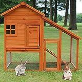 zooprinz Hasenstall - Kaninchenstall Landhaus massiven Holz ideal für draußen - Besonders einfach und schnell zu reinigen Besonders Besonders einfach und schnell zu r