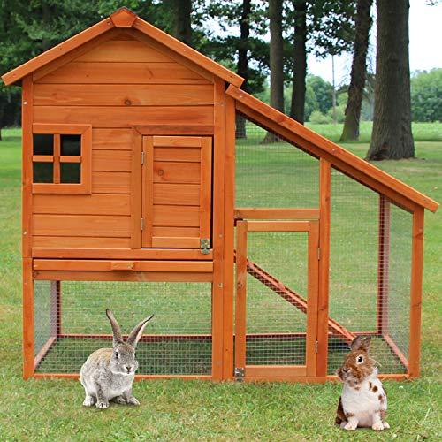 zooprinz Hasenstall - Kaninchenstall Landhaus massiven Holz ideal für draußen - Besonders einfach und schnell zu reinigen Besonders Besonders einfach und schnell zu reinigen