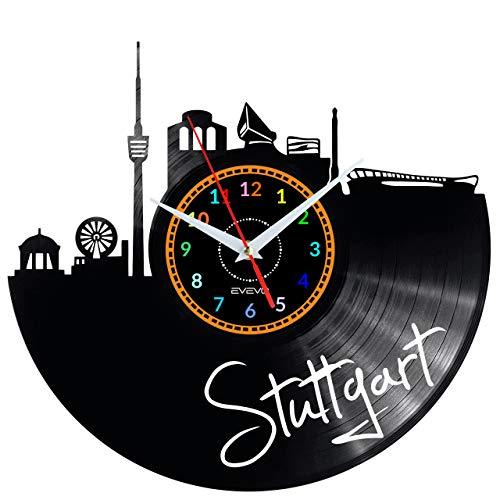 EVEVO Stuttgart Wanduhr Vinyl Schallplatte Retro-Uhr groß Uhren Style Raum Home Dekorationen Tolles Geschenk Wanduhr Stuttgart