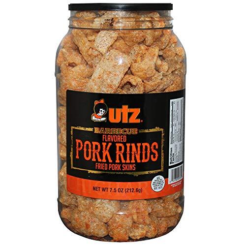 Utz Pork Rinds, BBQ Flavor - 7.5 Oz Barrel - Keto Friendly Snack With Zero Carbsper Serving, Light & airy Chicharrones, 7.5 Oz