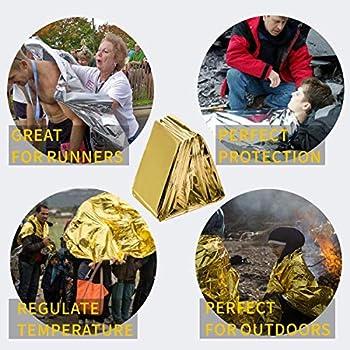 Ikruidy Couverture Survie 4 Pack 210 x 160 cm Couverture de Survie d'urgence Couverture de Survie Camping Or/Argent Parfaite pour Les Marathons de Survie en Plein air ou Les Premiers Soins