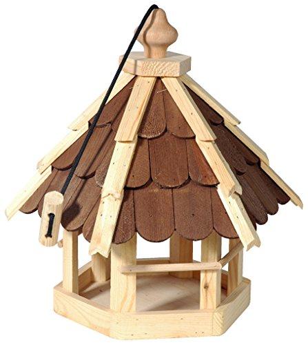 dobar 90638e Vogelhaus aus Holz (Kiefer) für Garten, Balkon, mit dunklen Holzschindeln, Kordel zum Aufhängen - Vogelhäuschen Vogel-Futterhaus