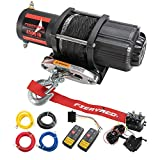 FIERYRED 12V 4500LBS Electric Synthetic Rope ATV Winch Kits for Towing ATV/UTV Off Road Trailer with Wireless...
