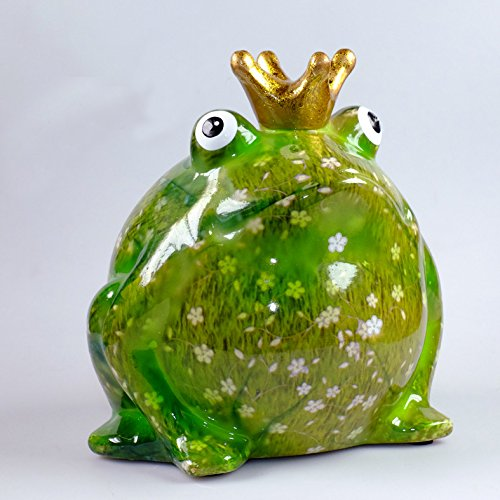 Pomme Pidou Süße Spardose ~ Froschkönig greenline B - weiße Blumen Frosch Sparbüchse Geschenk