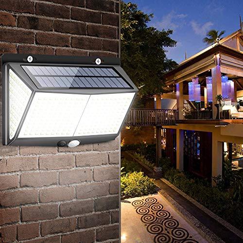 Luz de pared con energía solar, 270° luces solares al aire libre, 288 luces LED de seguridad solar, iluminación de sensor de movimiento PIR, lámpara de calle exterior impermeable para jardín