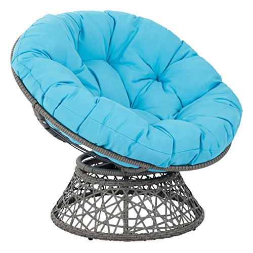 OSP Designs Papasan Chair with 360-degree Swivel, Blue cushion and Grey Frame