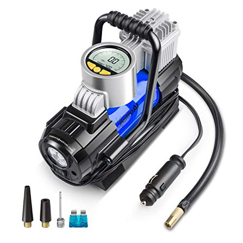 AstroAI Portable Air Compressor Pump, Digital Tire Inflator 12V DC Electric Gauge with Larger Air Flow 35L/Min, LED Light, Overheat Protection, Extra Nozzle Adaptors and Fuse, Blue (Renewed)