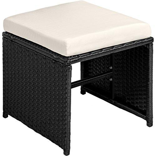 TecTake Poly Rattan 8+4+1 Sitzgruppe | 8 Stühle 4 Hocker 1 Tisch | inkl. Schutzhülle & Edelstahlschrauben | - Diverse Farben - (Schwarz | Nr. 402831) - 5