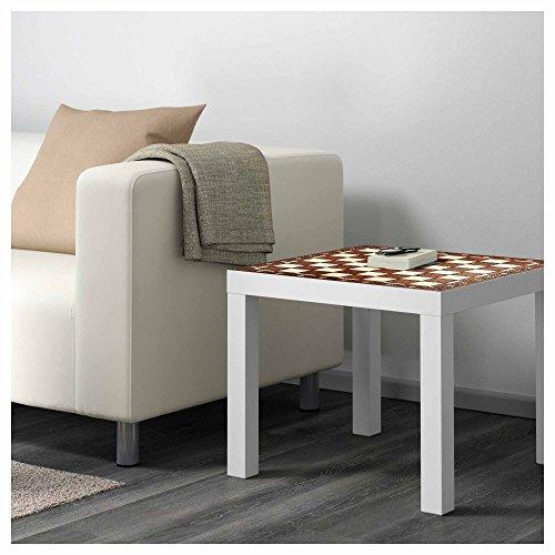 Vinilo para Mesa IKEA Lack Personalizada Tablero Ajedrez Antiguo imitación Madera | Medidas 0,55 m x 0,55 m | Vinilo Personalizado | Decoración Mobiliario | Pegatina Decorativa de Diseño Elegante